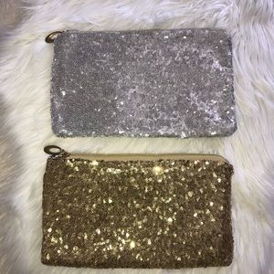 Handbags - Pair of silver & gold sequin clutch